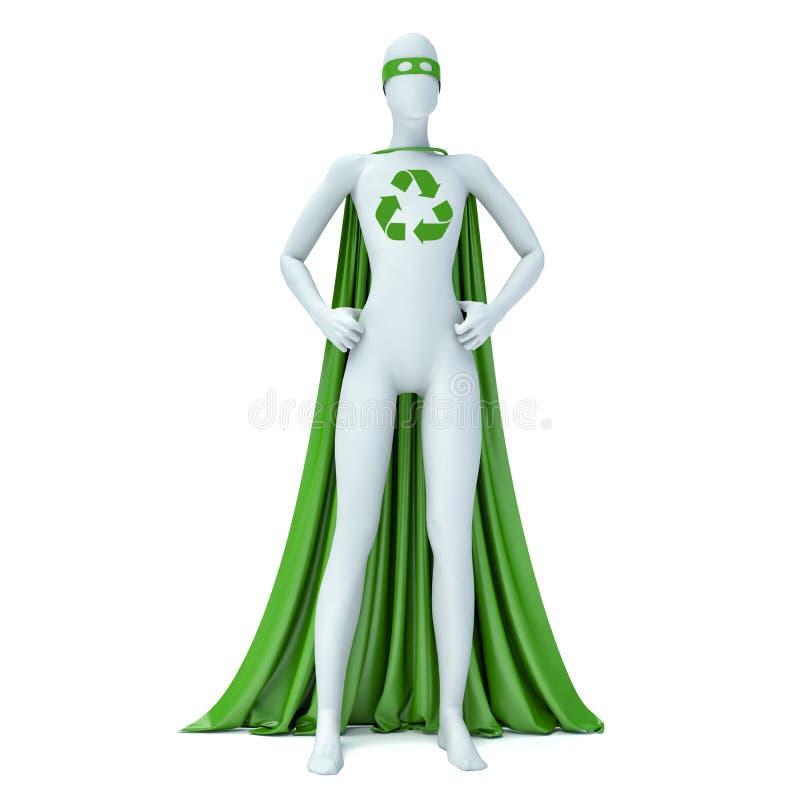 le super héros écologique des personnes de race blanche 3d avec réutilisent le signe, d'isolement illustration stock