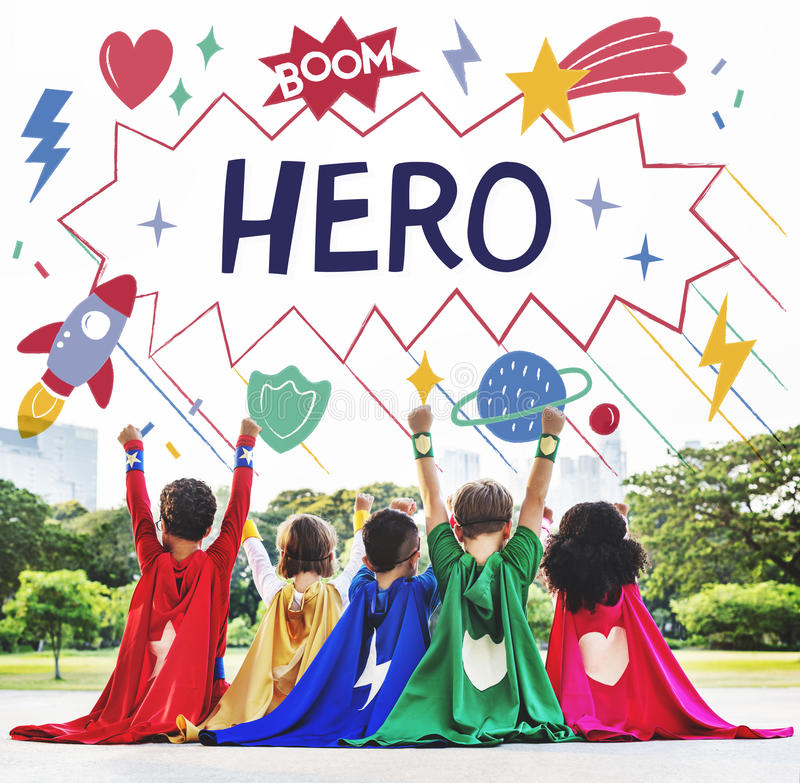 Le super héros badine le concept d'aide de puissance d'imagination photo stock