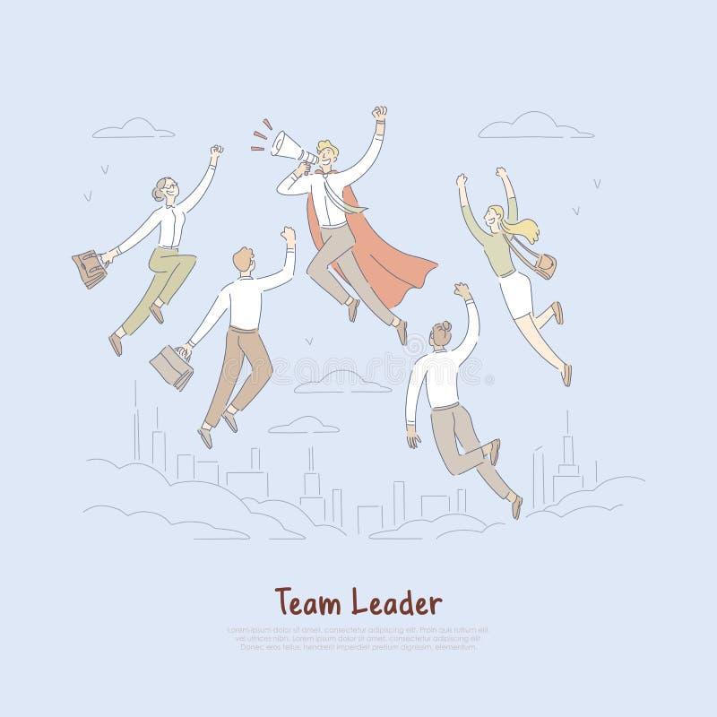 Le super héros dans le cap, mégaphone heureux de participation d'homme d'affaires, employés suivent le patron, bannière réussie d illustration libre de droits