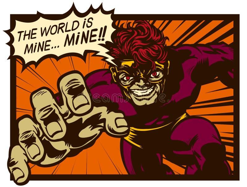 Le super-vilain de la bande dessinée rétro schématise un plan diabolique pour gouverner l'illustration vectorielle du monde images libres de droits