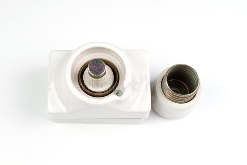 Le support en céramique de fusible de cartouche électrique de coupe-circuit ouvrent le chapeau et l'installent diazed photographie stock