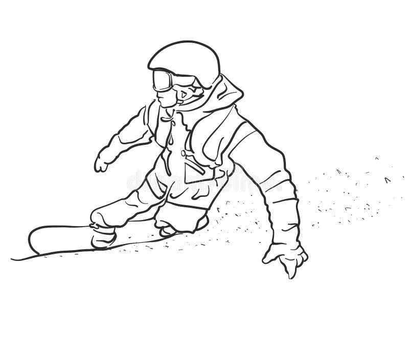Le surfeur de style libre prend le croquis de courbe illustration stock