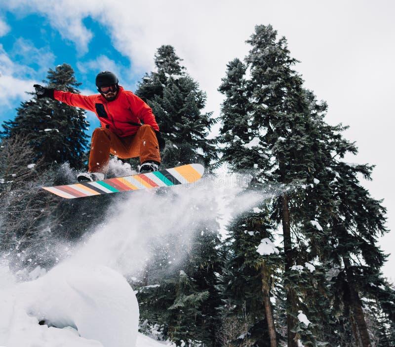 Le surfeur saute très la taille et freeriding de la colline dans la forêt de montagne photographie stock