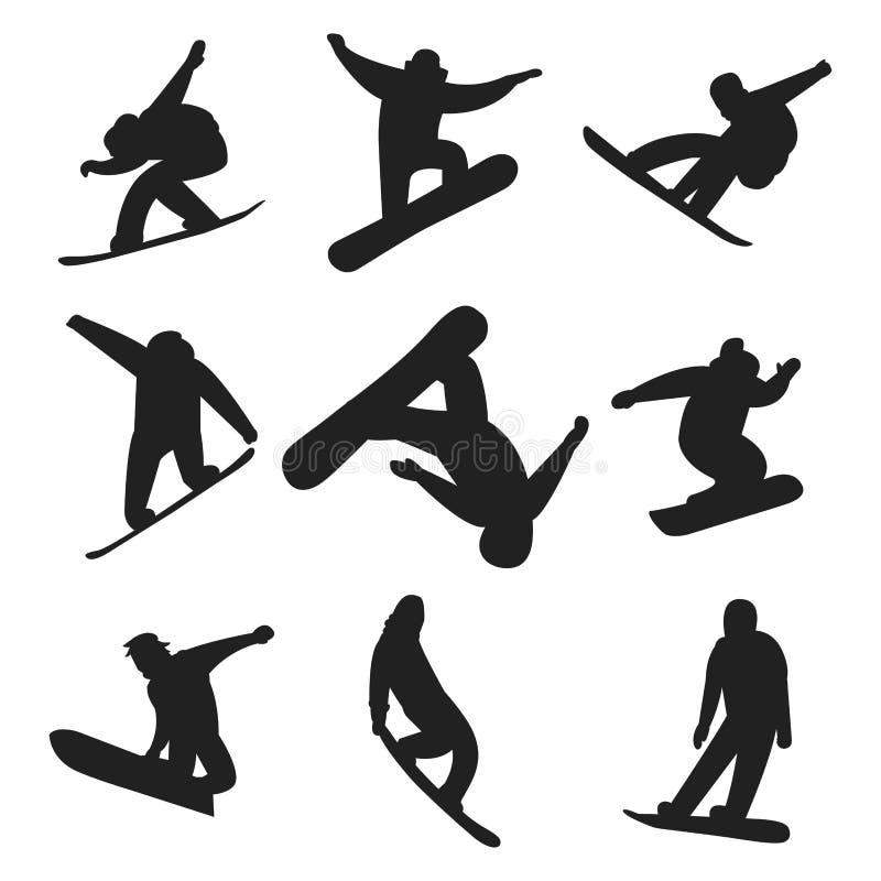 Le surfeur sautent dans le vecteur différent de personnes de silhouette de pose illustration de vecteur