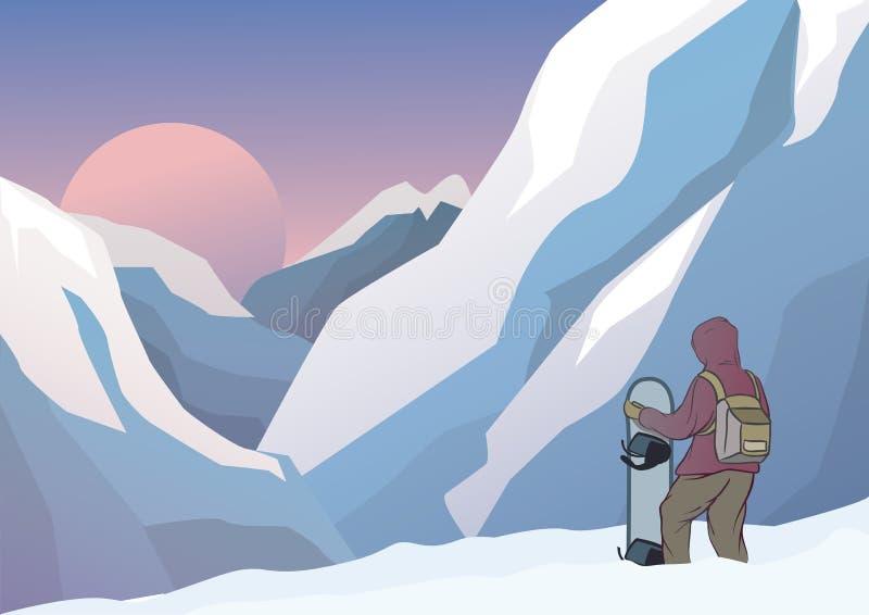 Le surfeur se tient dans les montagnes avec le surf des neiges Montagnes sur le fond illustration sur le thème de l'extrémité et  illustration de vecteur