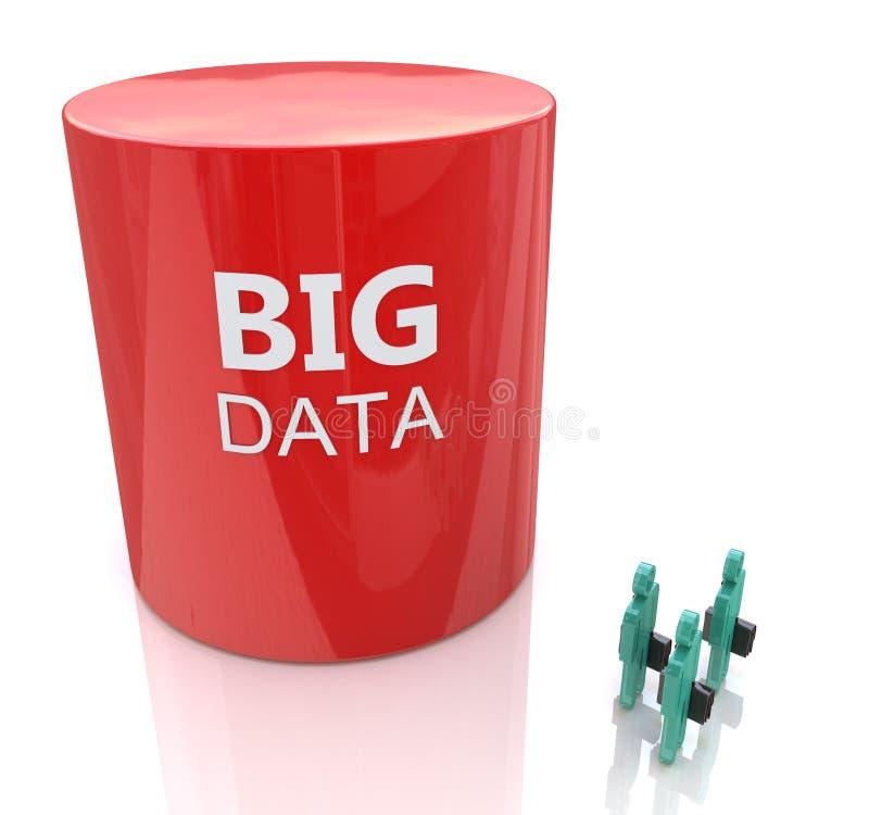 Le symbole énorme de base de données rapetisse trois personnes - grand concept de données illustration stock
