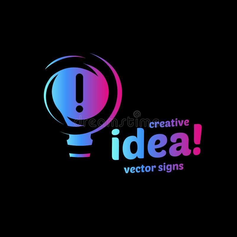 Le symbole abstrait d'idée, vecteur de couleur de gradient de signe d'Eurêka d'ampoule a isolé le logo sur le fond noir illustration libre de droits