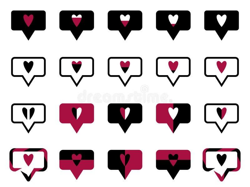 Le symbole aime noir illustration de vecteur