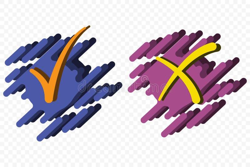 Le symbole d'acceptation et de rejet dirigent des boutons pour le vote, choix d'élection OK symbolique et icône de X d'isolement  illustration stock