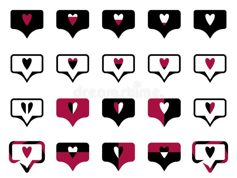 Le symbole d'ensemble aime noir illustration stock