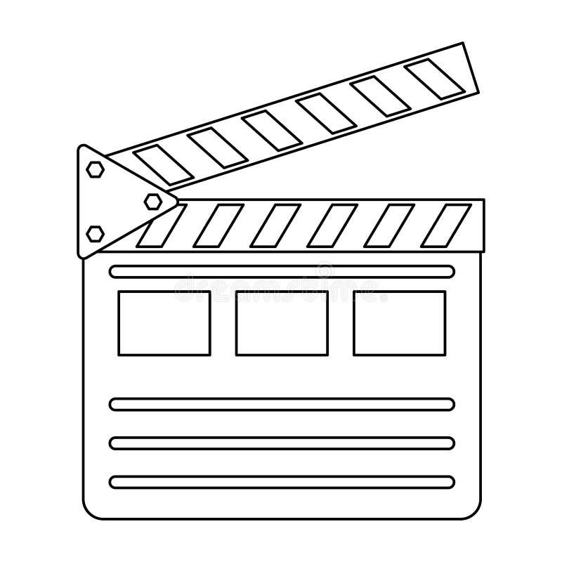 Le symbole de bardeau de film a isolé noir et blanc illustration stock