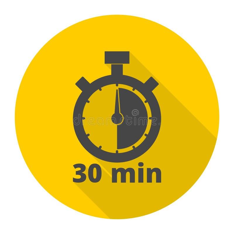 le symbole de chronomètre de 30 minutes, icônes de minuterie a placé avec la longue ombre illustration libre de droits