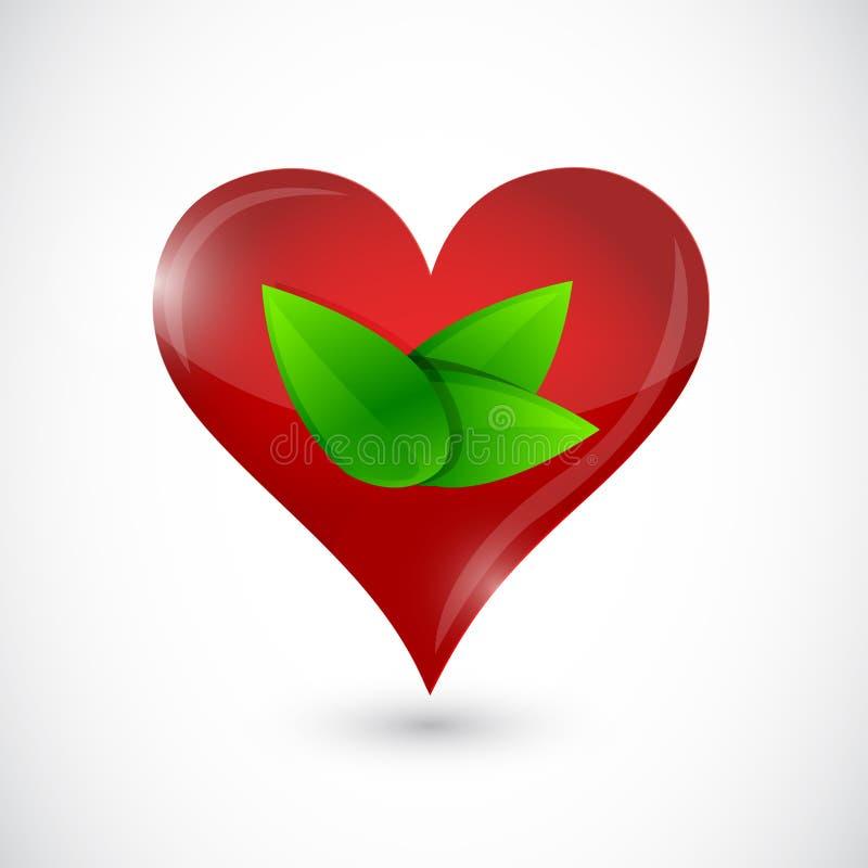 Le symbole de coeur en vert laisse l'illustration illustration libre de droits