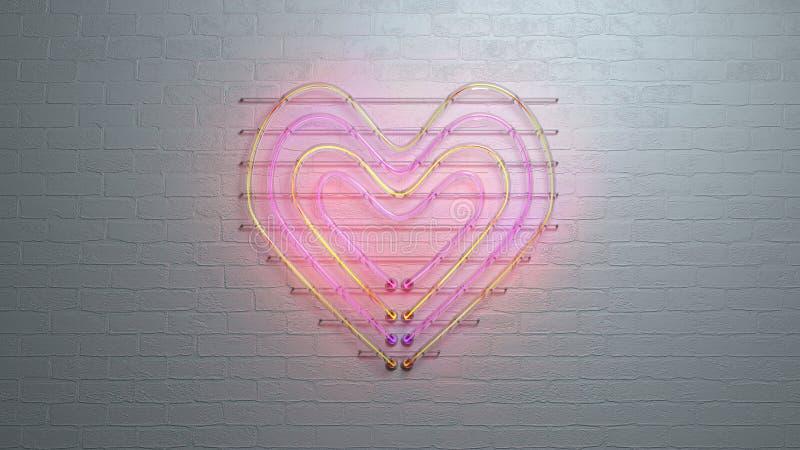 Le symbole de coeur de lampe au néon sur le mur de briques 3D rendent illustration de vecteur