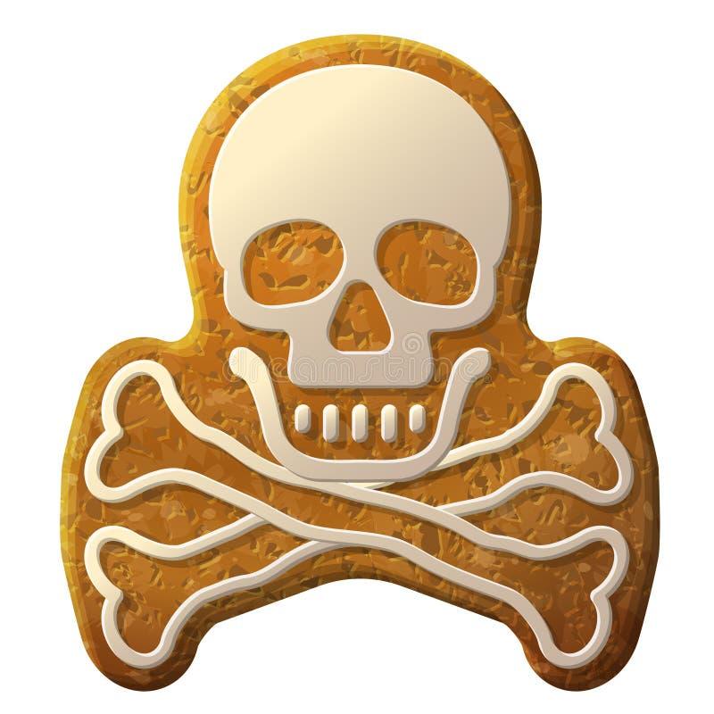 Le symbole de crâne de pain d'épice a décoré le glaçage illustration de vecteur