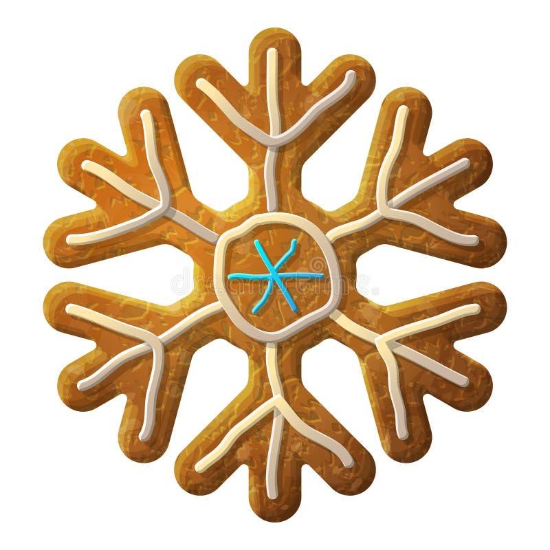 Le symbole de flocon de neige de pain d'épice a décoré le glaçage coloré illustration de vecteur