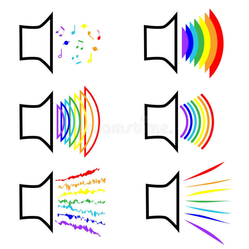 Le symbole de l'appartenance aux minorités sexuelles Ensemble de mégaphones d'icônes avec des bruits d'arc-en-ciel Lesbiennes et  illustration libre de droits