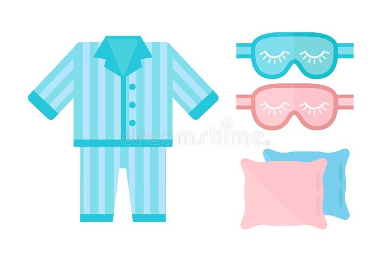 Le symbole de signe de lit d'illustration de vecteur d'icône de pyjamas de sommeil a isolé le bandeau rêveur d'oreiller de pyjama illustration stock