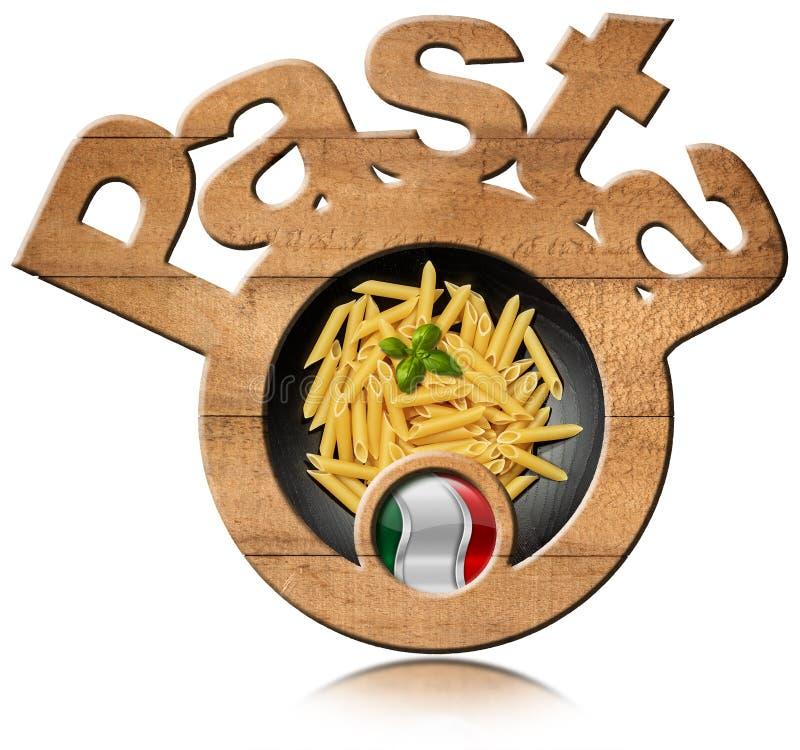 Le symbole en bois avec les pâtes italiennes a appelé Penne image libre de droits