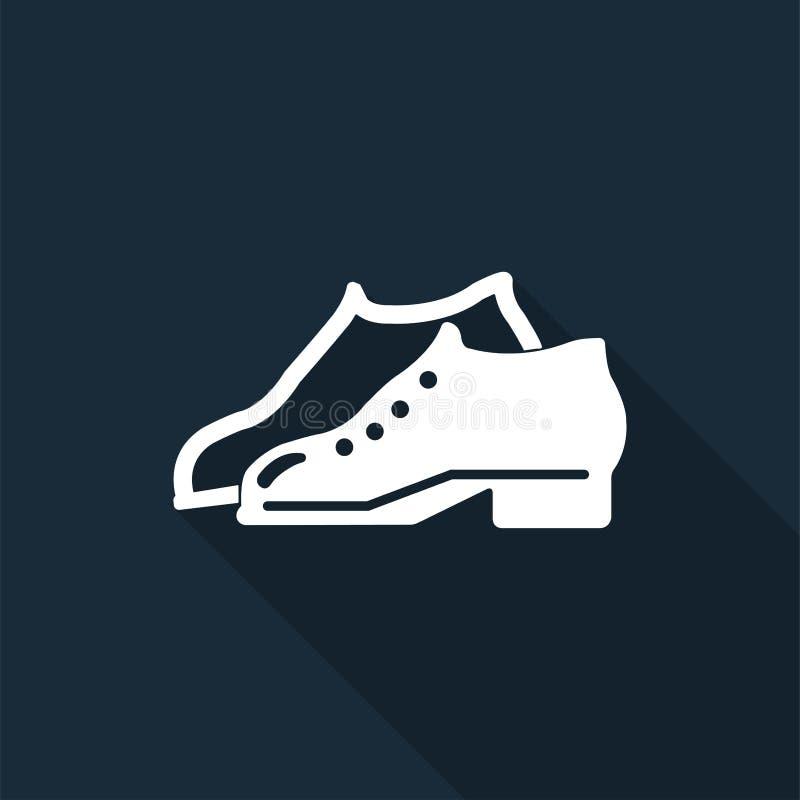 Le symbole a enfermé des chaussures sont exigés dans le secteur de fabrication pour se connecter le fond noir, illustration de ve illustration de vecteur