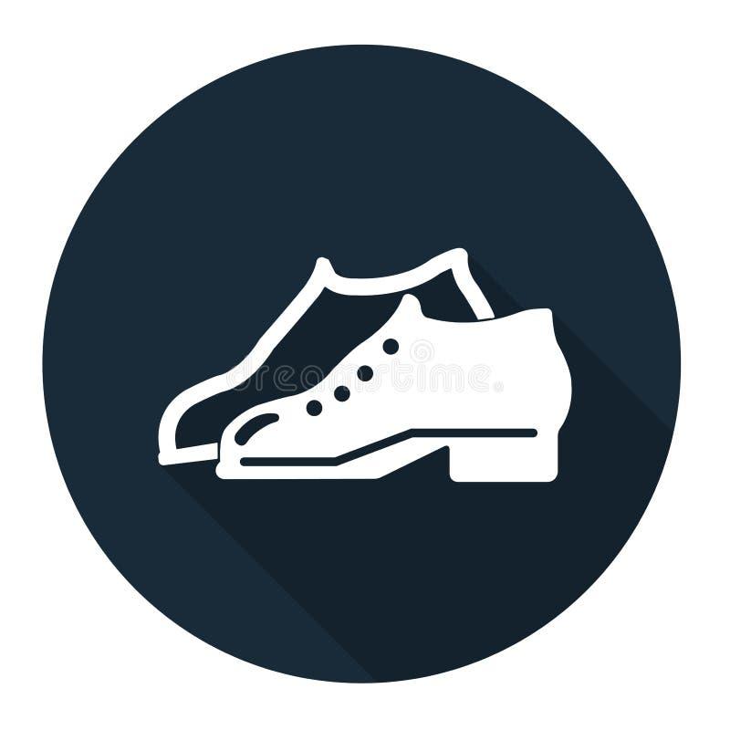 Le symbole a enfermé des chaussures sont exigés dans le secteur de fabrication pour se connecter le fond noir, llustration de vec illustration libre de droits