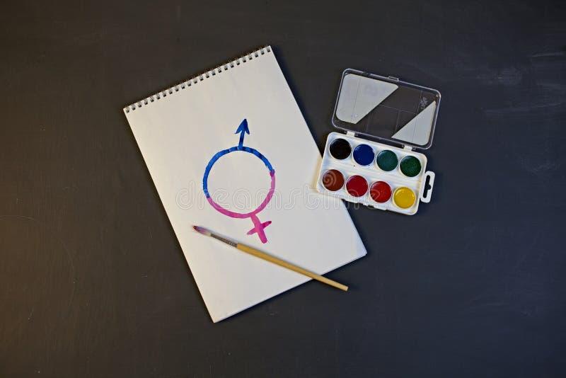 Le symbole femelle de genre est égal au concept masculin de l'égalité entre les sexes images stock