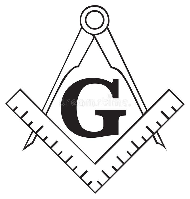 Le symbole maçonnique de grand dos et de compas, franc-maçon illustration stock