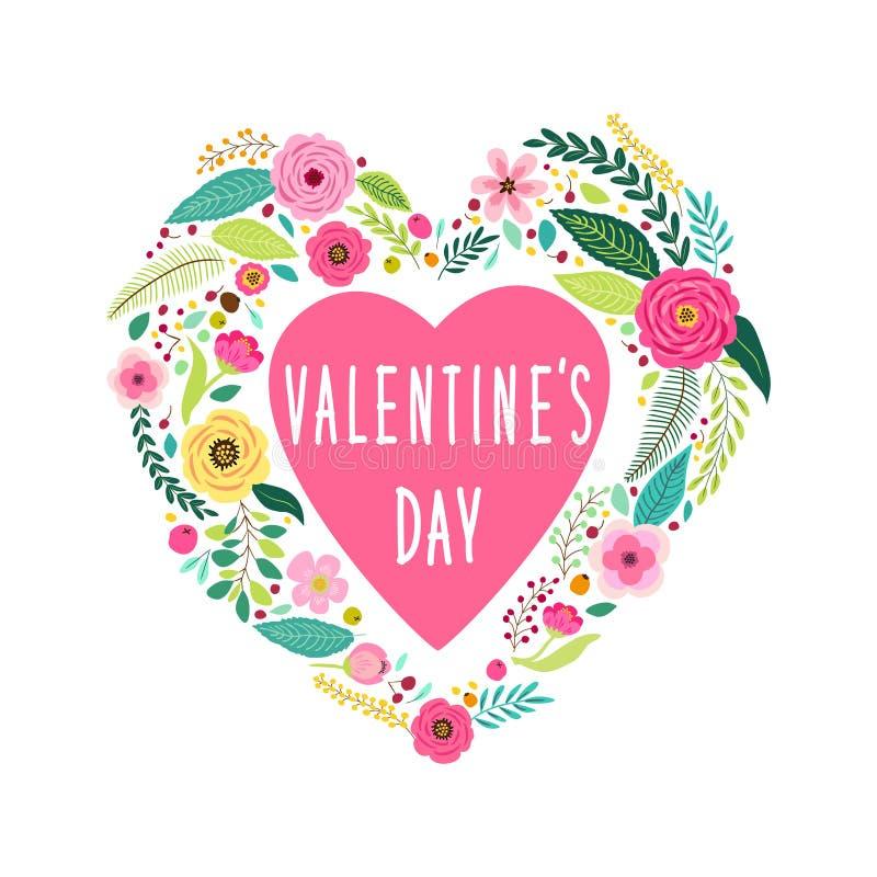 Le symbole mignon de jour du ` s de Valentine de vintage en tant que premier ressort tiré par la main rustique fleurit dans la fo illustration de vecteur