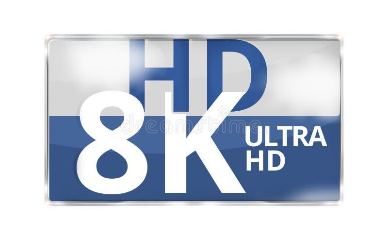 le symbole moderne 3D d'icône d'insigne de 8K ultra HD rendent illustration de vecteur