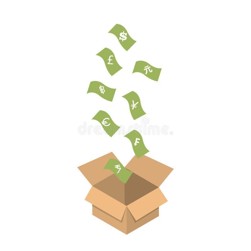 Le symbole monétaire d'argent chutent vers le bas dans la boîte photos stock