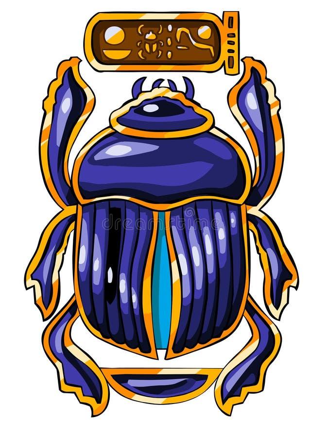 Le symbole sacré égyptien - scarabée illustration de vecteur