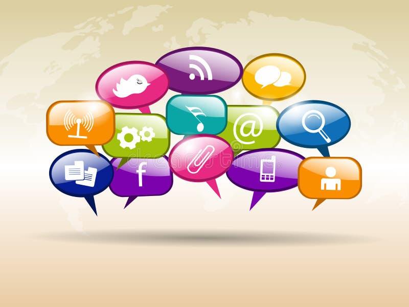 Le symbole social de réseau ou signent dedans des bulles de la parole illustration stock