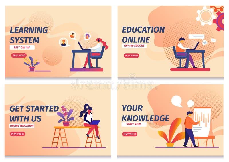 Le système d'étude, commencent l'éducation en ligne, la connaissance illustration de vecteur
