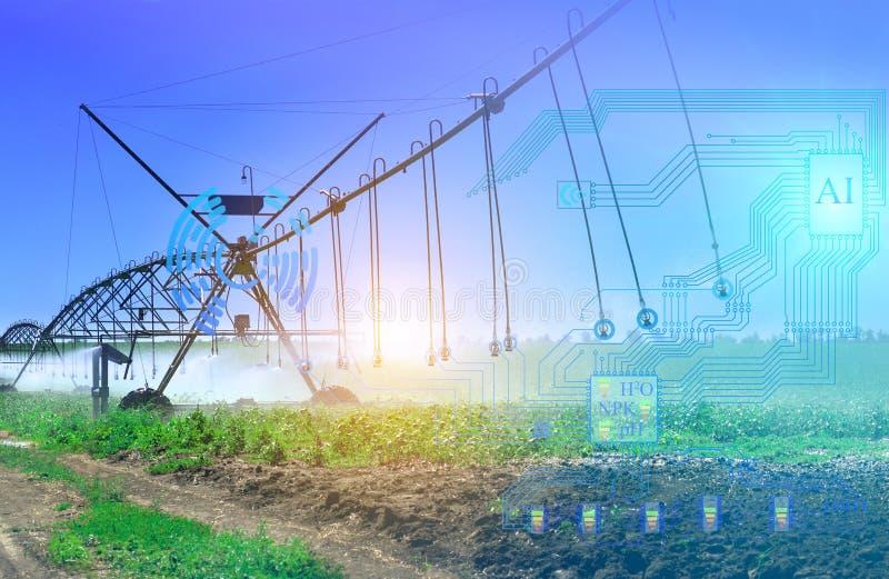 Le système d'irrigation artificiel de l'avenir détermine le degré d'irrigation et de lixiviation des engrais à partir du sol illustration de vecteur