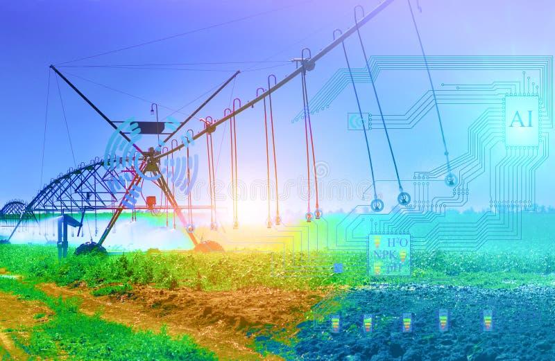 Le système d'irrigation artificiel de l'avenir détermine le degré d'irrigation et de lixiviation des engrais à partir du sol illustration stock