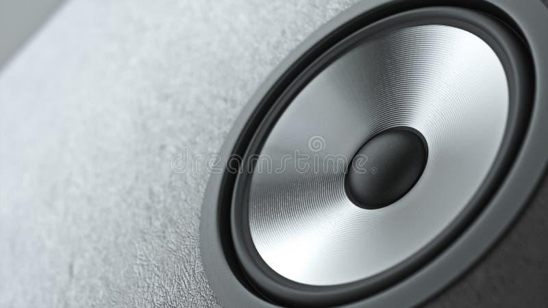 Le système de haut-parleurs de multimédia avec le plan rapproché différent de haut-parleurs au-dessus du fond noir 3d rendent image libre de droits