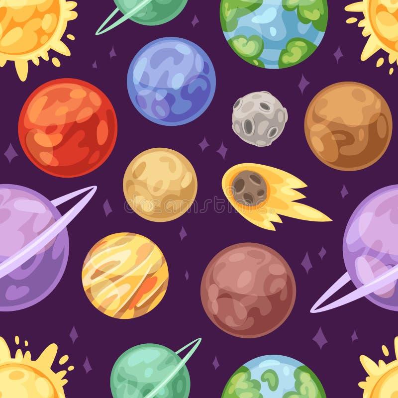 Le système planétaire de vecteur de planète dans l'espace avec la terre de venus de mercure ou trouble dans le planétarium et l'i illustration libre de droits