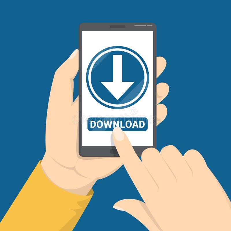 Le téléchargement se connectent l'écran de téléphone portable Application de téléchargement illustration de vecteur