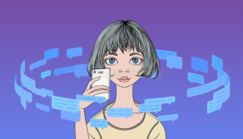 Le téléphone de participation de jeune femme en cercle des message textuels et de la parole bouillonne Circulation de l'informati illustration stock