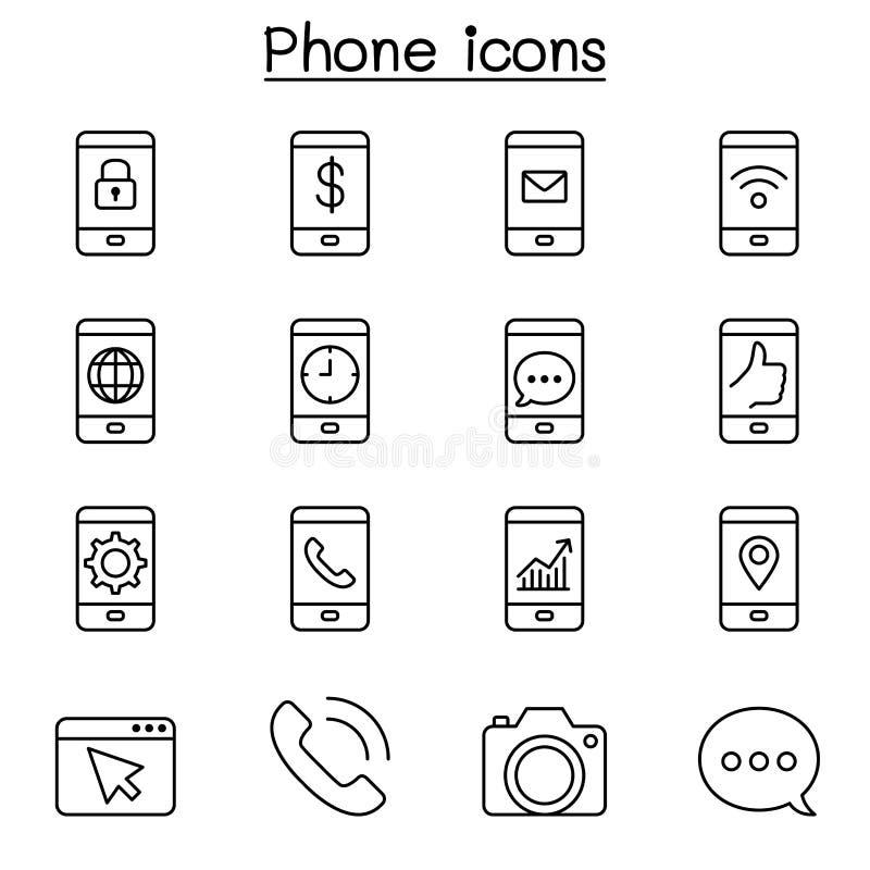 Le téléphone intelligent et l'icône de base d'application ont placé dans la ligne style mince illustration stock
