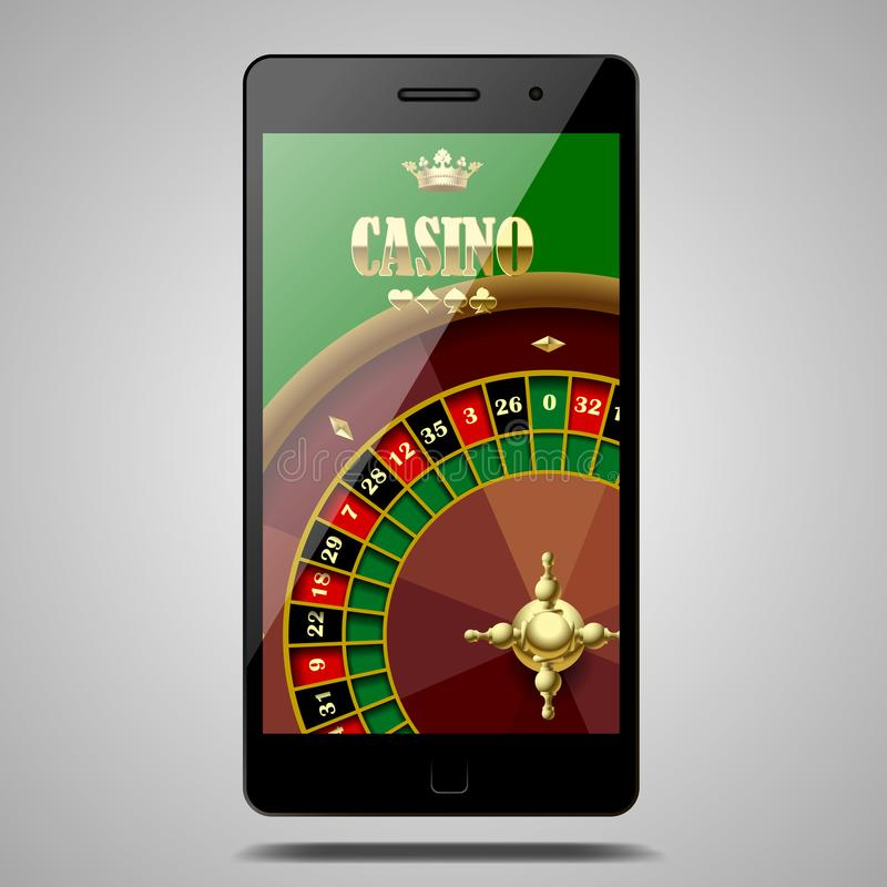 Le téléphone moderne d'isolement sur le blanc avec la roulette de casino roulent dedans illustration stock