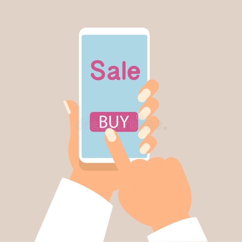 Le téléphone portable comme stockent en ligne Illustration en ligne de vecteur d'achats illustration de vecteur