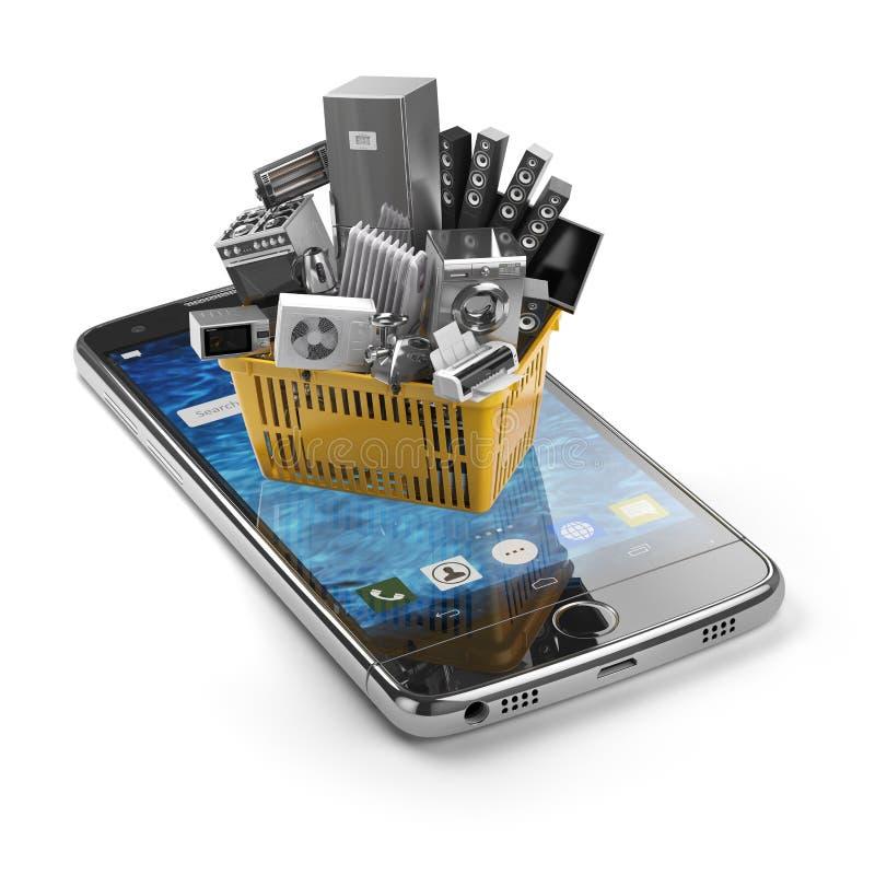 Le téléphone portable et le panier à provisions avec les appareils de cuisine à la maison est illustration stock