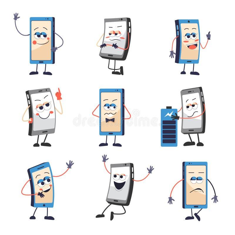 Le téléphone portable ou le smartphone avec le visage et les émotions ont isolé des icônes illustration stock
