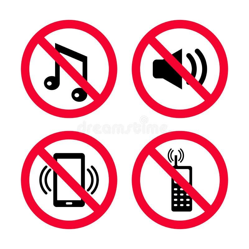 Le ` t de Don font le bruit, aucun téléphones portables, aucune musique, aucun bruits forts, signes rouges d'interdiction illustration stock