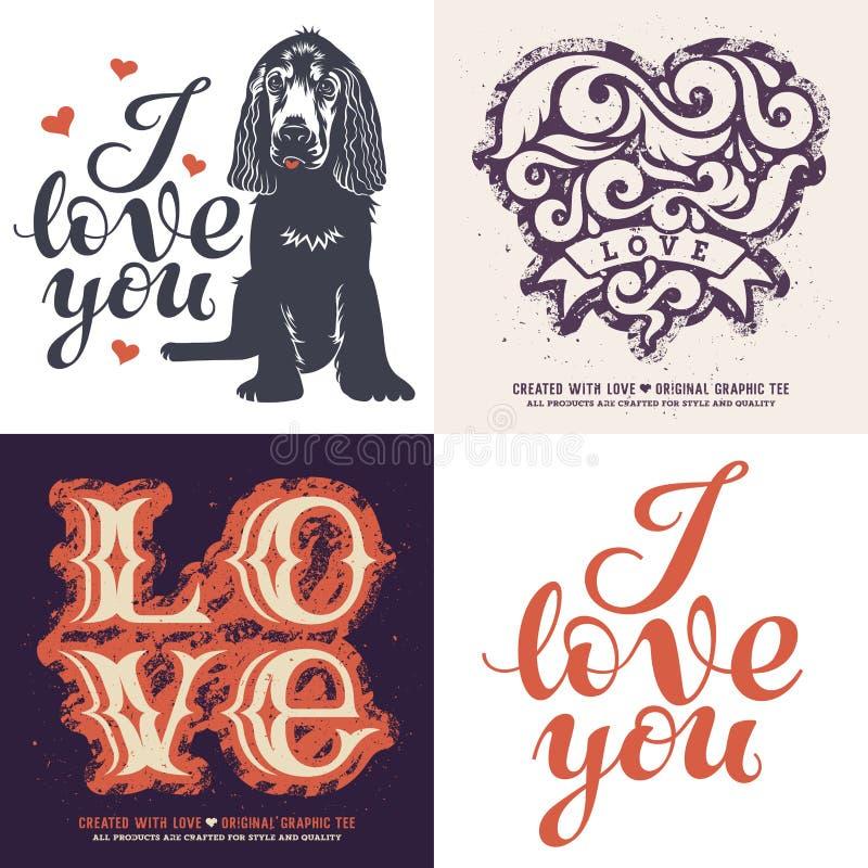Le T-shirt d'amour a placé 001 illustration de vecteur