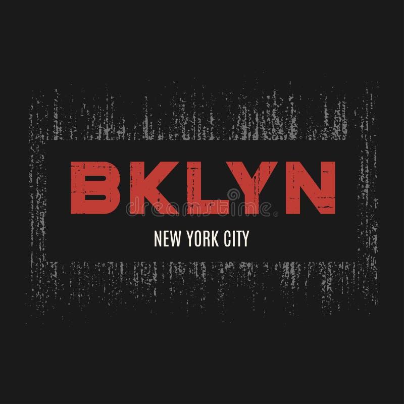 Le T-shirt et l'habillement de Brooklyn conçoivent avec l'effet grunge illustration libre de droits