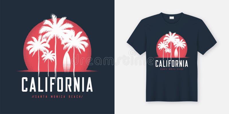 Le T-shirt et l'habillement de la Californie Santa Monica Beach conçoivent, typogr illustration libre de droits