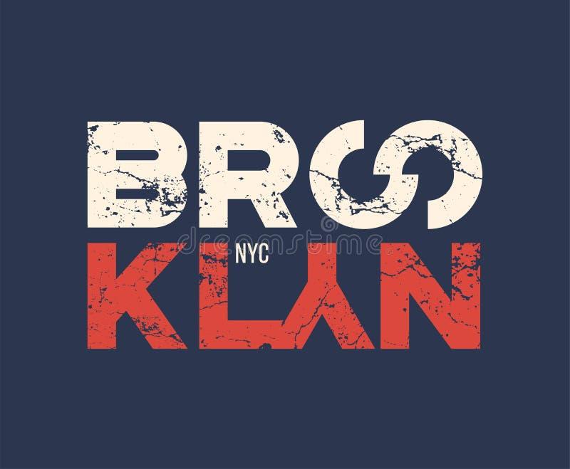 Le T-shirt et l'habillement de nyc de Brooklyn conçoivent avec l'effet grunge illustration de vecteur