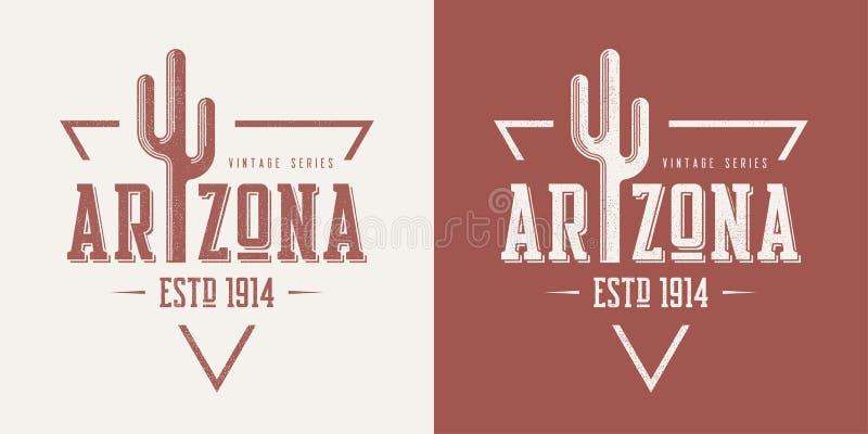 Le T-shirt et l'habillement de vecteur de vintage texturisés par état de l'Arizona conçoivent illustration de vecteur